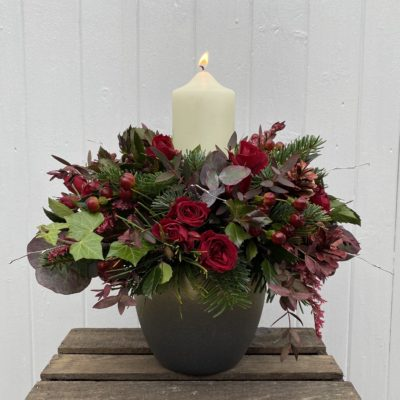 BERRY RED Candle Table Decoration
