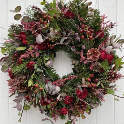 BERRY RED Door Wreath